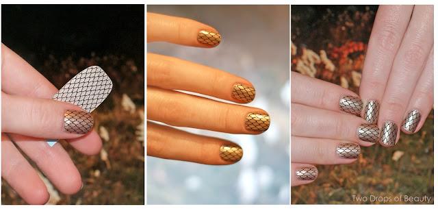 sally hansen, nail strips, маникюр, золото, сеточка