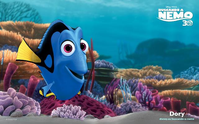 Wallpaper de la película de Pixar buscando a Nemo, Dori, formato panorámico