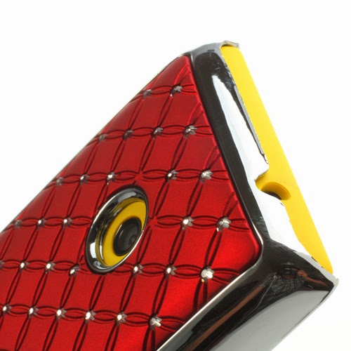 Bling Diamond Starry Sky Plated Hard Case for Nokia Lumia 520 525 - Red