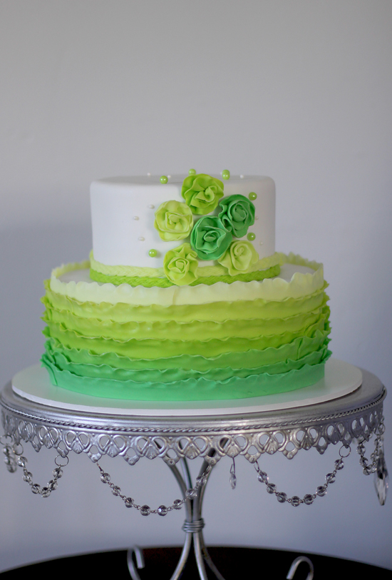 Cake Designs Green : Lime green ombre cake The Couture Cakery