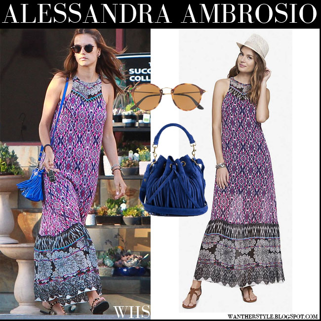 Alessandra Ambrosio in purple pink Express tapestry print maxi summer dress with blue fringed bag Saint Laurent Emmanuelle what she wore july 16