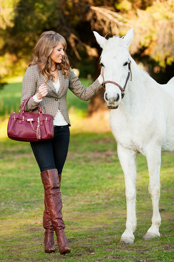 Woman Dressed In  S Winter Horse Riding Clothes