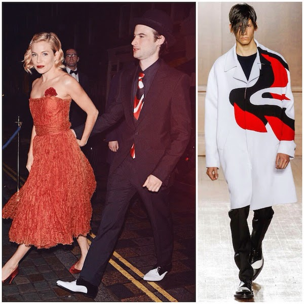 Sienna Miller with Tom Sturridge wearing an Alexander McQueen black one-button suit with McQueen shoulder, SS15 kabuki silk tie and white/black patent pointed derby to attend Mario Testino birthday party in London on Tuesday 28th October 2014