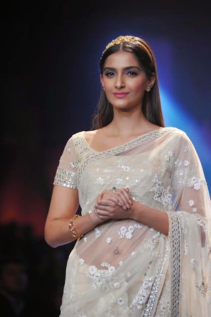 Sonam Kapoor in a Transparent Saree at IIJW 2014 Grand Finale