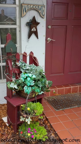 Eclectic Red Barn: Two-tiered planter with picket bench at front door