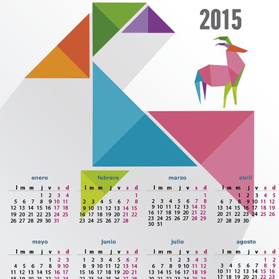 Calendario 2015 carnero de origami - vector