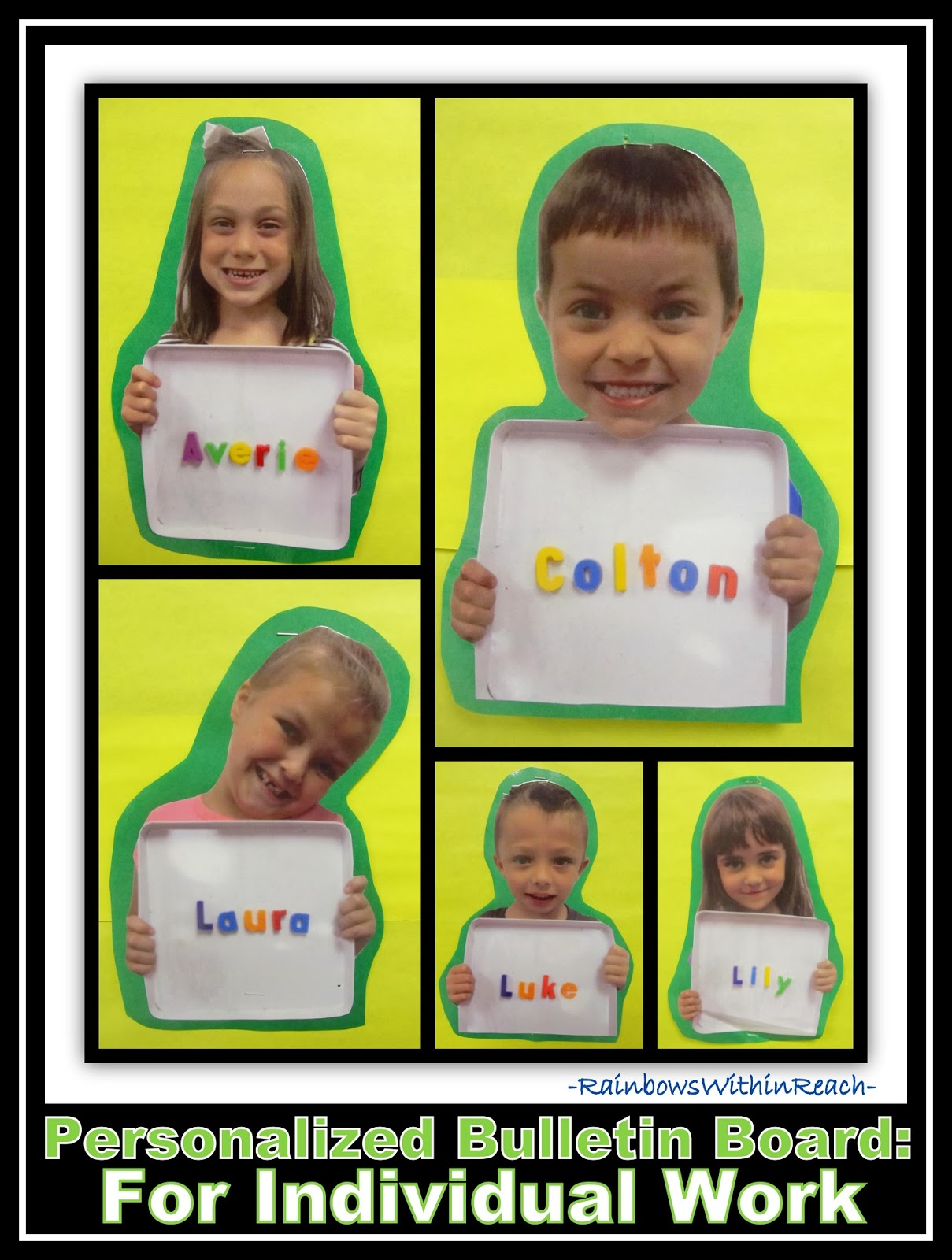 Magnet Letters to Personalize the Bulletin Board with Names at RainbowWithinReach