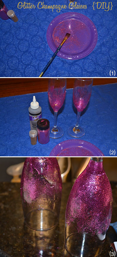 3 step DIY board pink glitter flutes | Cordier Event Planning