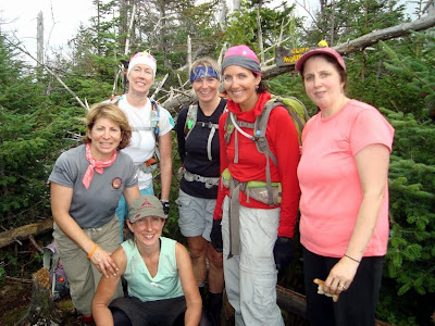 Cliff's summit, L to R: Beth, Marcy (seated), Helen, Elizabeth, Marie, Judy.  Missing:  Carol  The Saratoga Skier and Hiker, first-hand accounts of adventures in the Adirondacks and beyond, and Gore Mountain ski blog.