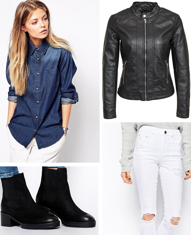 Outfit collage, Denim shirt, Leather jacket, White jeans, Ankle boots, Asos, Vero moda
