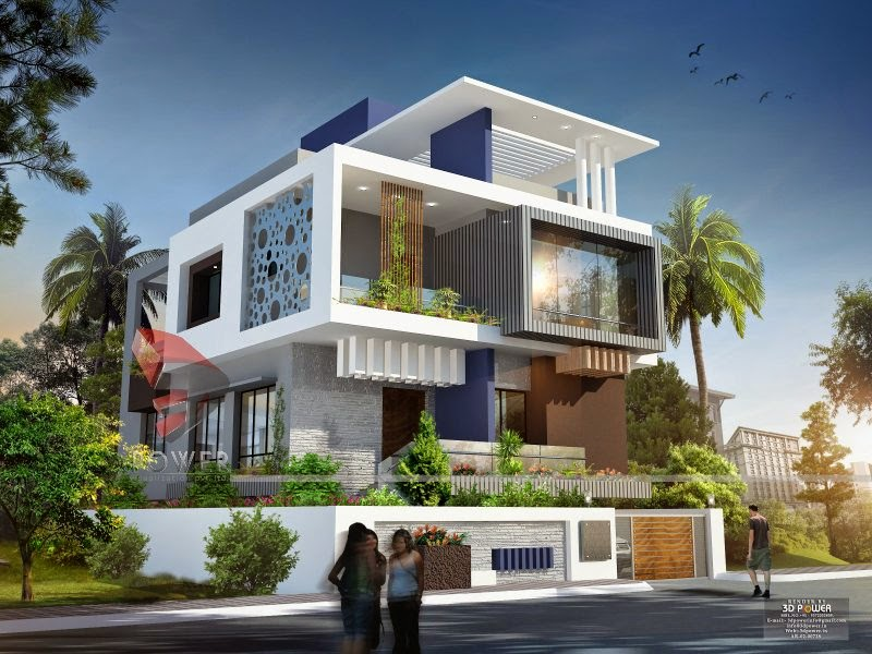 Ultra modern home designs home designs house 3d for Bungalow outside design