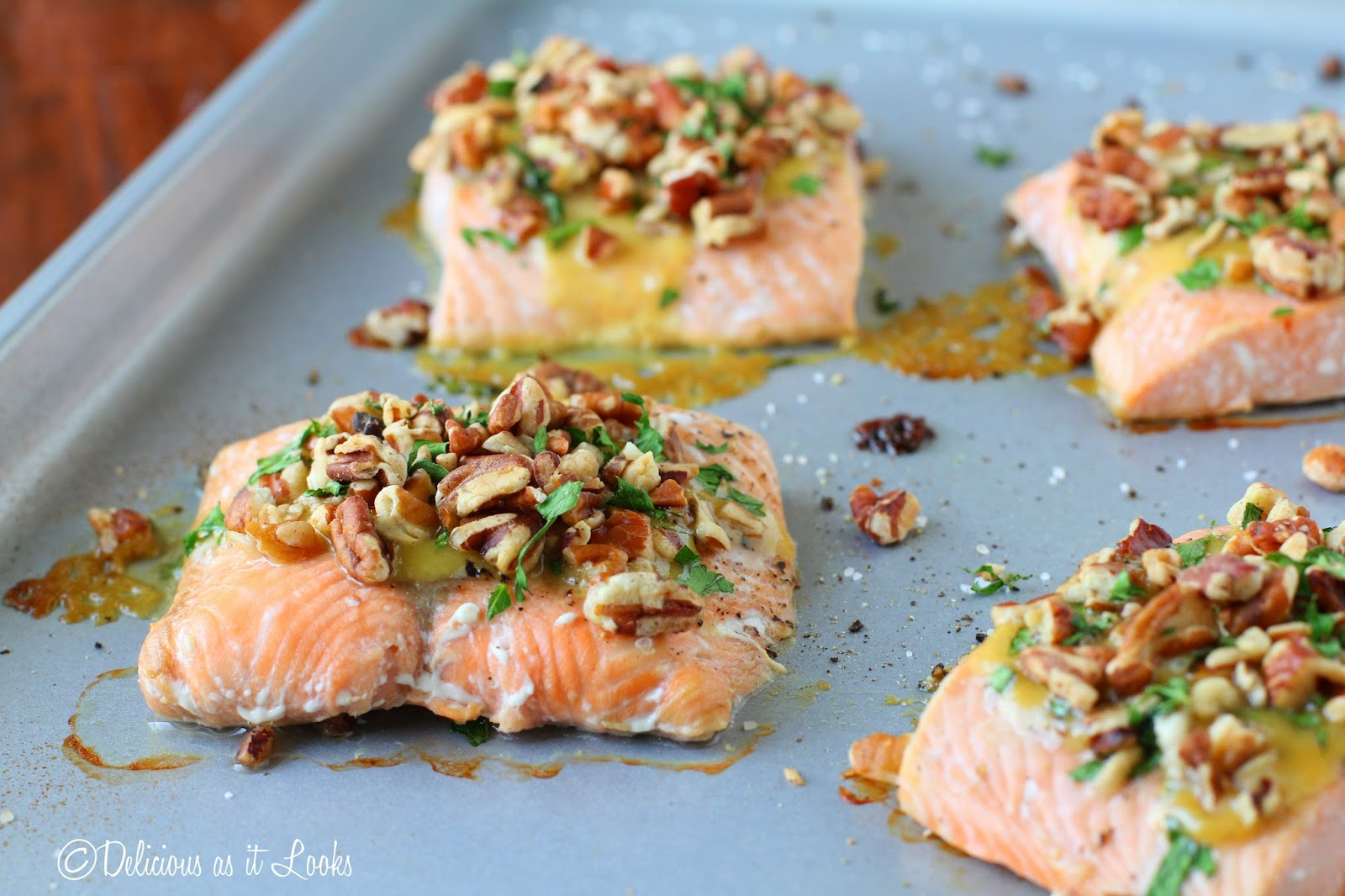 Dijon Pecan Salmon {Low-FODMAP, Gluten-Free, Grain-Free, Dairy-Free, Egg-Free}  /  Delicious as it Looks