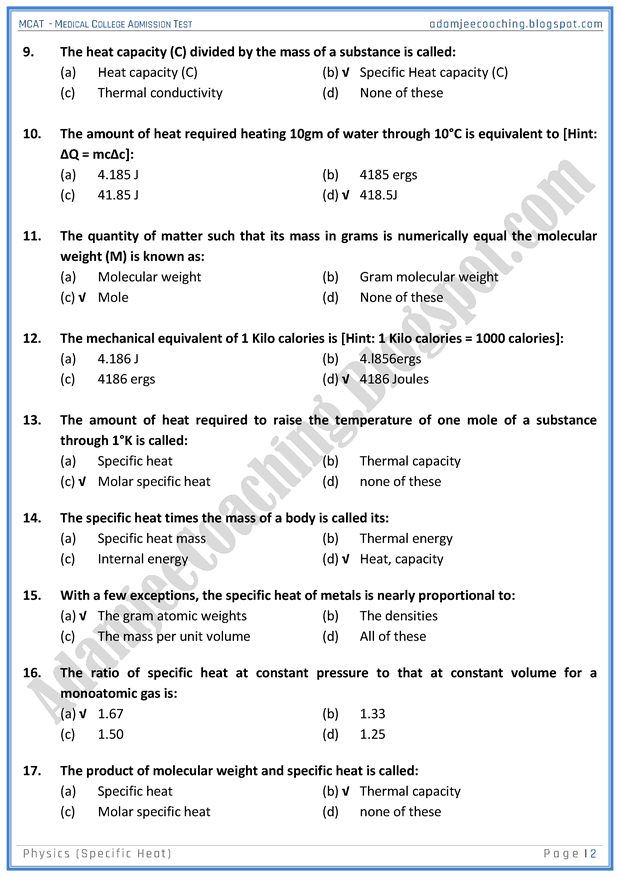 mcat-physics-specific-heat-mcqs-for-medical-entry-test