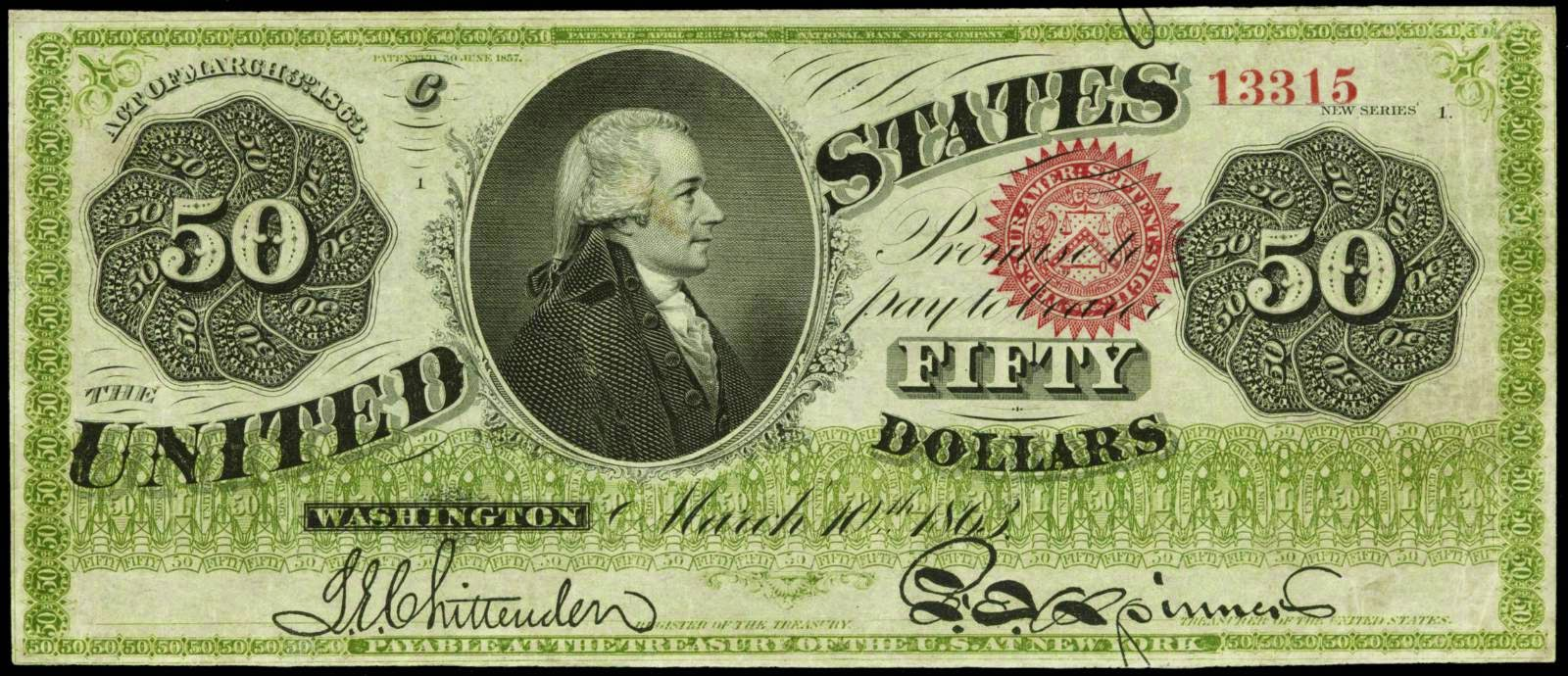United States 50 Dollar bill 1863 Hamilton