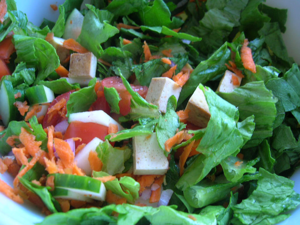 sesame tofu in a big ol salad cooking tofu that i love has been a ...