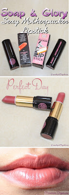 Here are swatches and review of Soap & Glory Sexy Mother Pucker Satin Lipstick in Perfect Day.