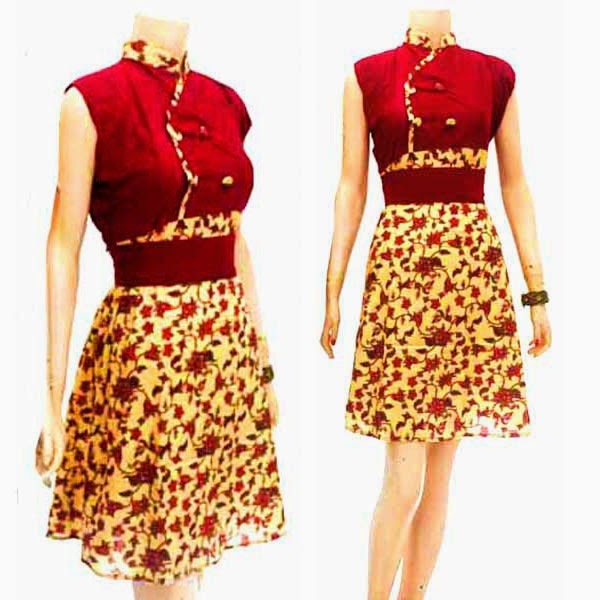 DB3775 Model Baju Dress Batik Modern Terbaru 2014