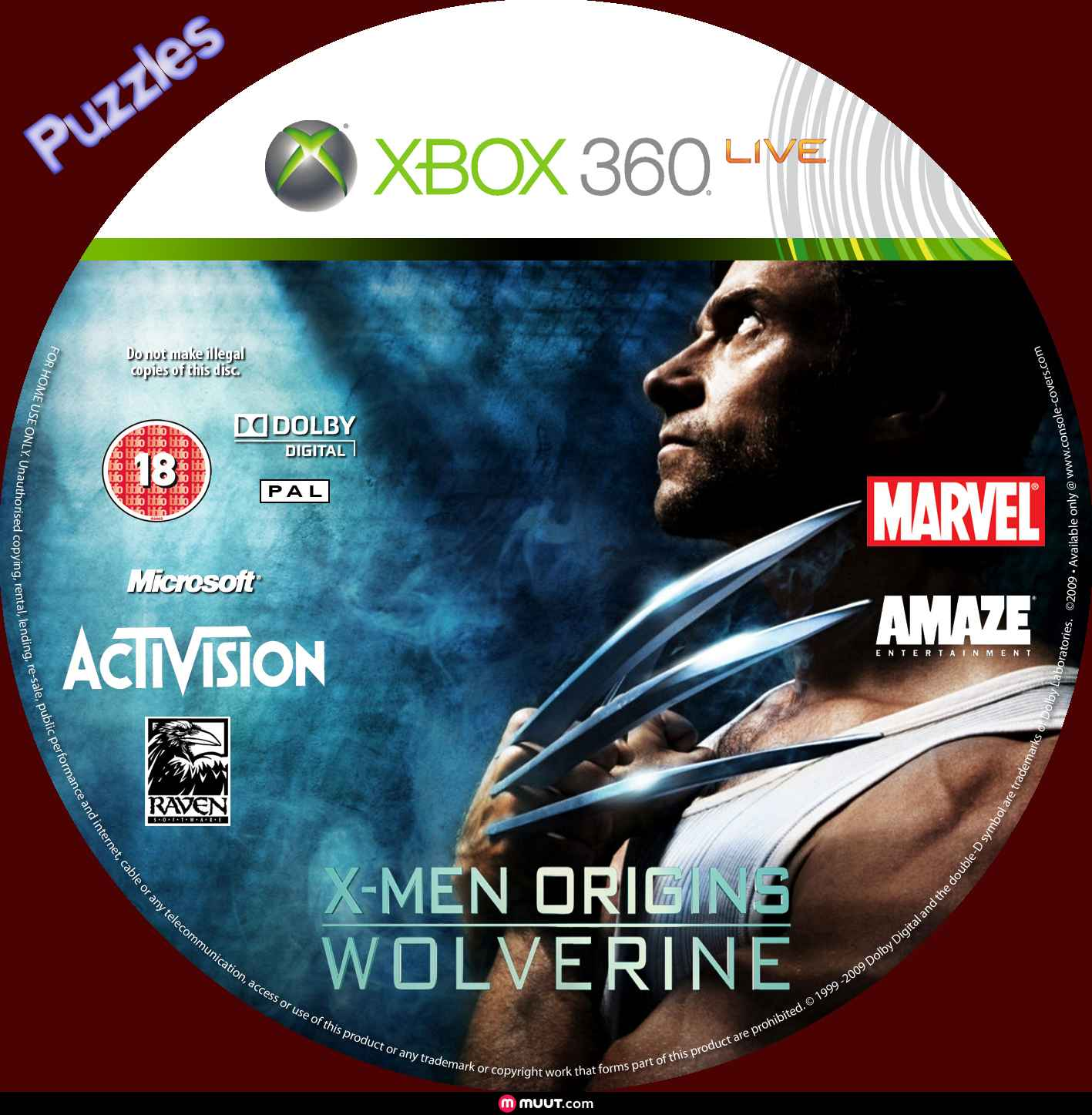 Label X-Men Origins Wolverine Xbox 360