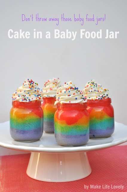 Upcycled Baby Food Jars: Rainbow Cake in A Jar