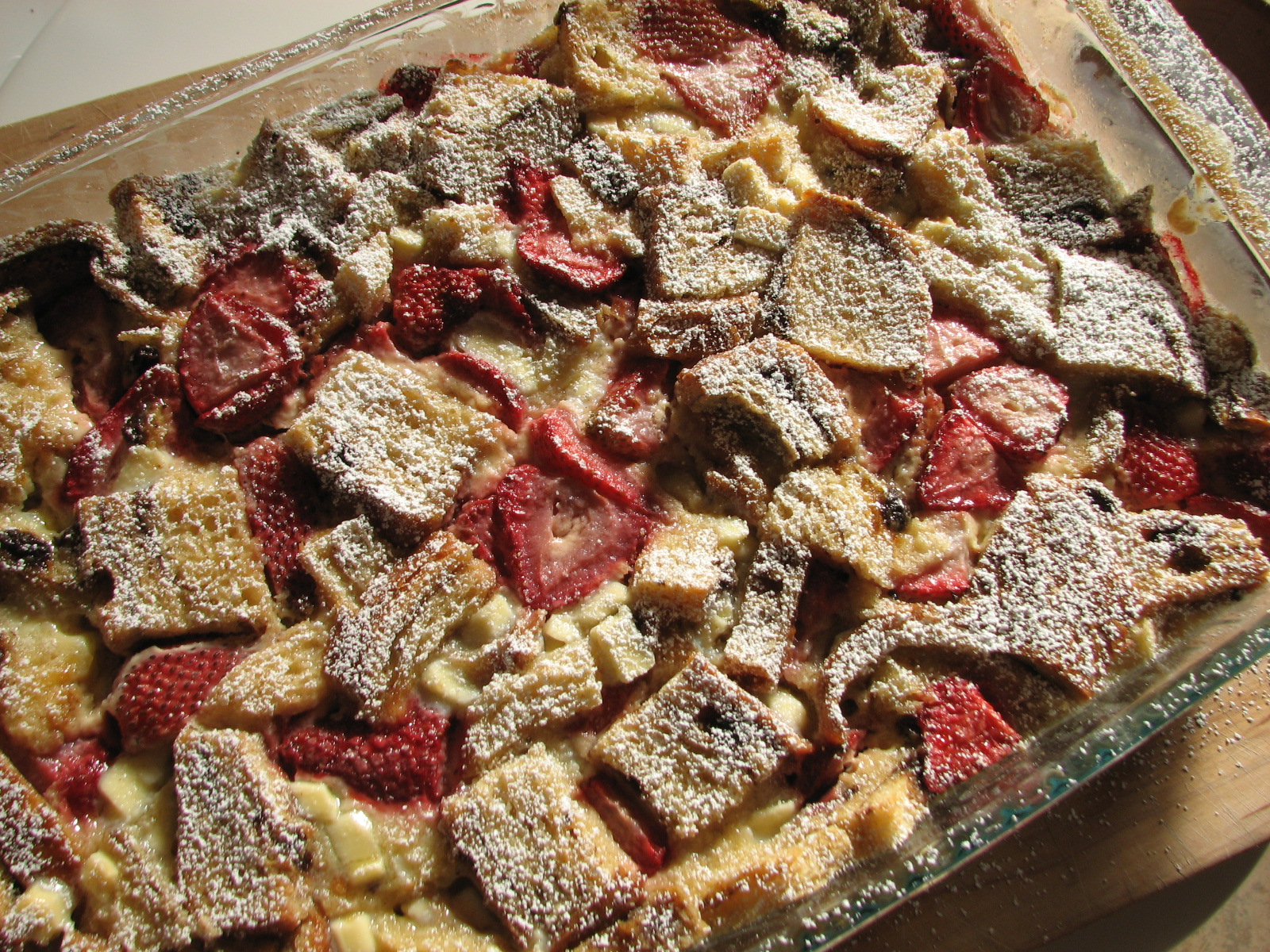 Strawberry and White Chocolate Bread Pudding
