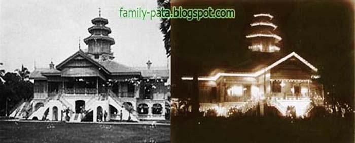 Istana Darussalam Langkat Siang Hari (Kiri) Malam Hari (Kanan)