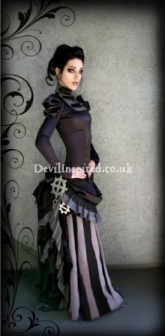 Brown Lace and Ruffle Victorian Steampunk Dress