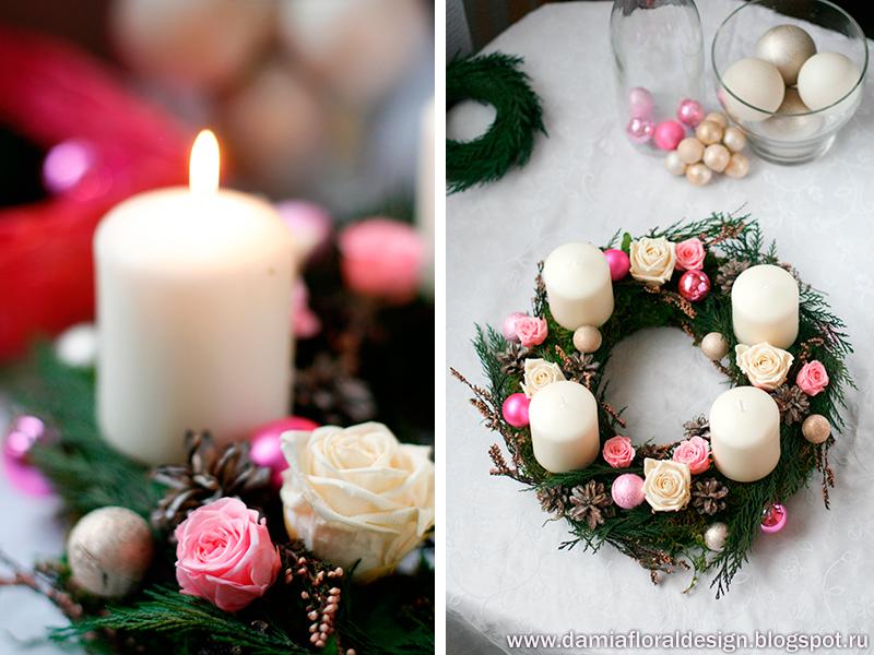 Новогодний венок со свечей своими руками