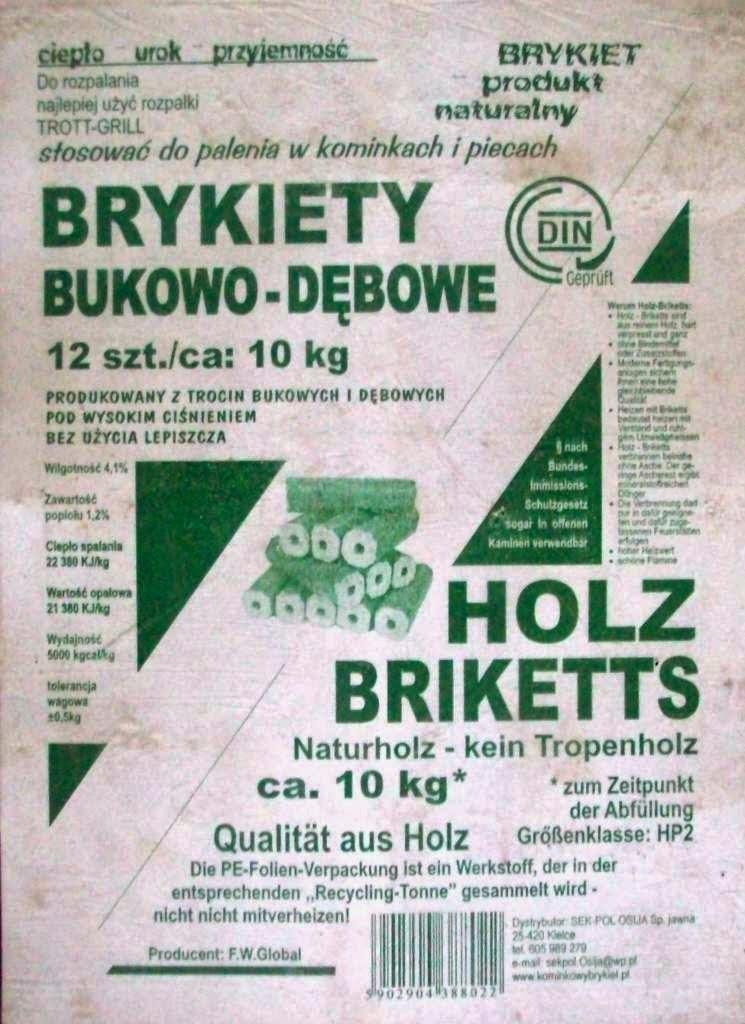 Brykiet Bukowo-Dębowy PiniKay Firmy SEK-POL