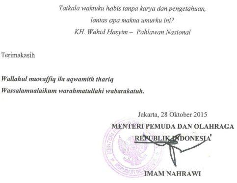 Penutup Sambutan Pidato Menteri Pemuda dan Olahraga RI pada HSP 2015