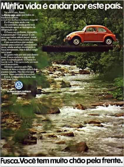 Propaganda do Fusca em 1980. Campanha promovia a potência e força do motor.