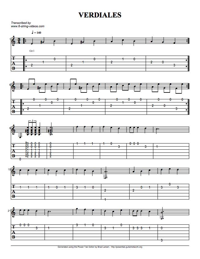 Guitar Tabs: Tabs For: Verdiales
