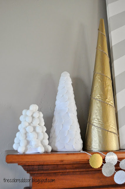 Christmas Mantle 2013 - DIY trees - the colored door