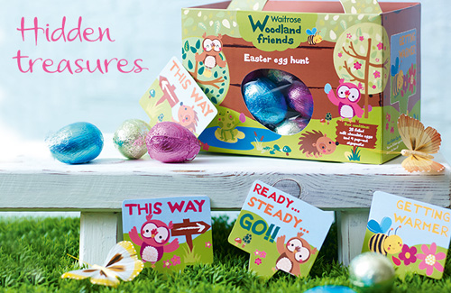 My owl barn woodland friends easter egg hunt kit by waitrose waitrose woodland friends easter egg hunt kit comes with twenty delicious foiled chocolate eggs and 4 pop out hunt markers with text such as this way2 negle