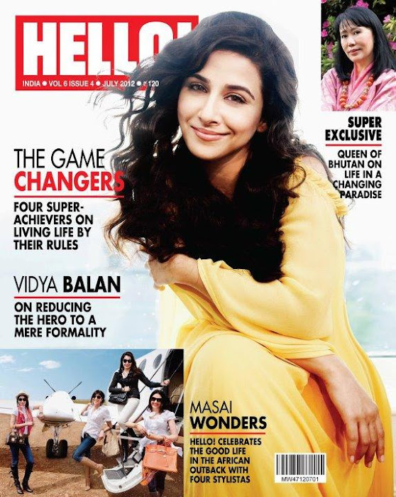vidya balan on the cover of hello magazine india july 2012.
