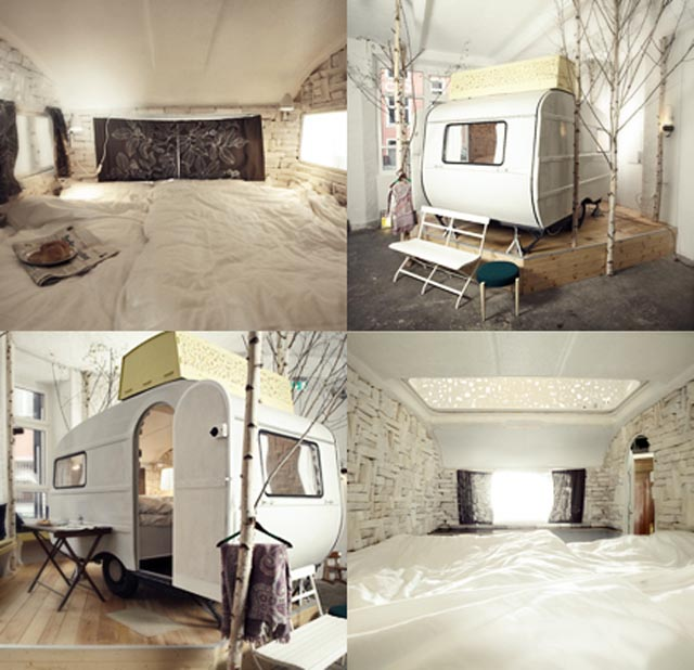 beautiful hotelroom in a caravan in Berlin via handgehaakt.blogspot.com