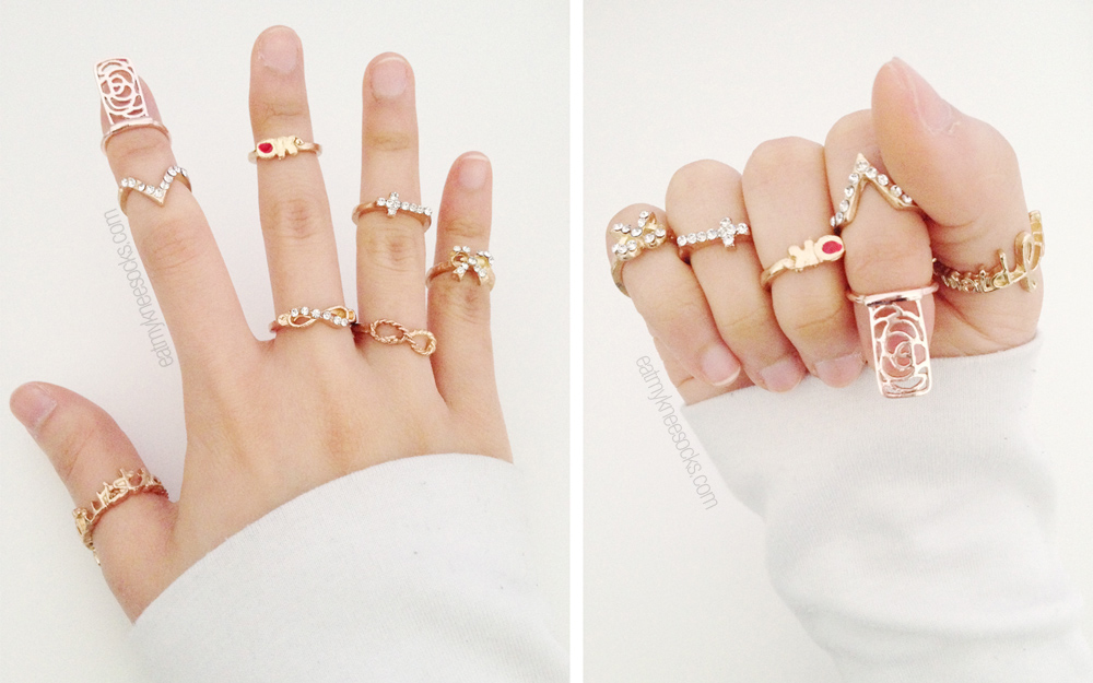 Photos of the 7-piece ring set and the golden floral nail ring from Born Pretty Store.