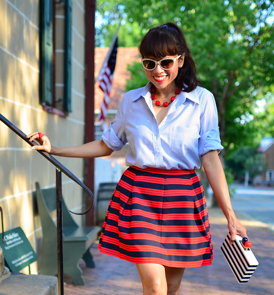 Outfit with striped skirt