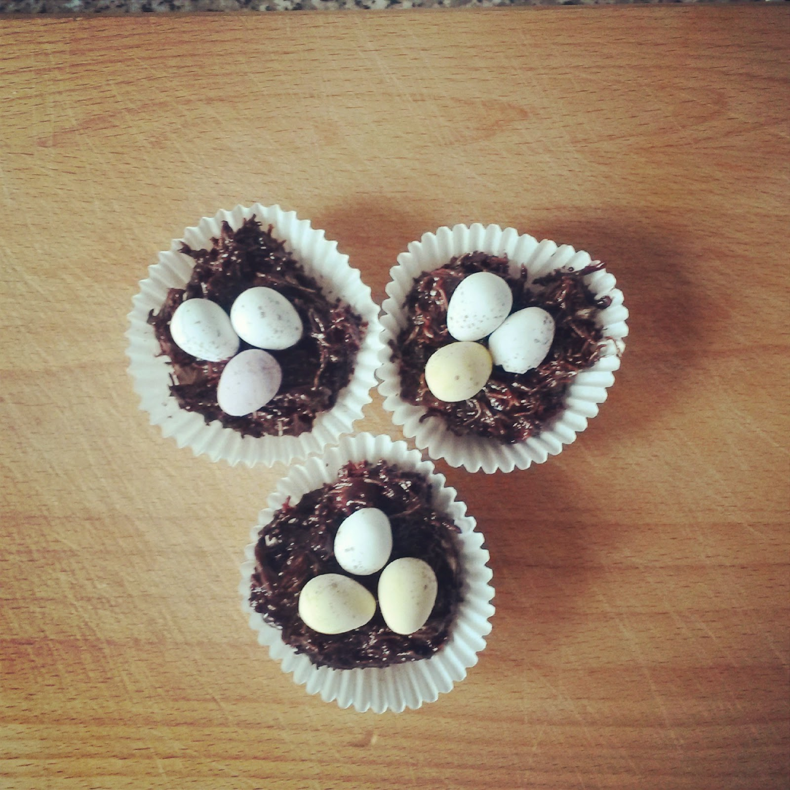 chocolate easter nests mini eggs shreaded wheat