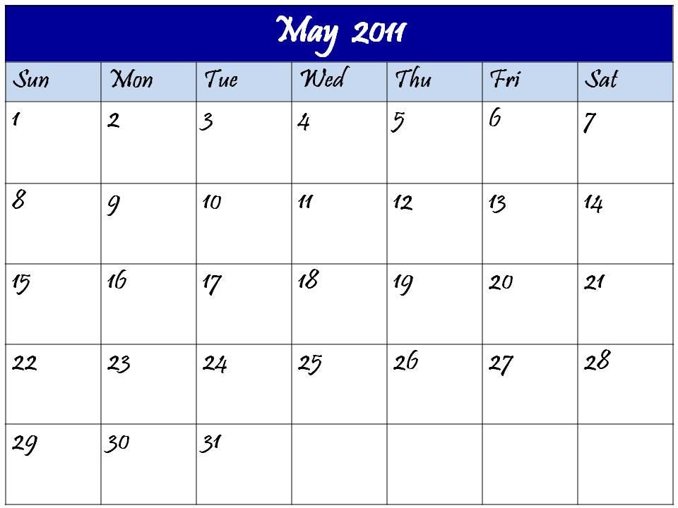 blank calendar 2011 may. Blank Calendar May 2011
