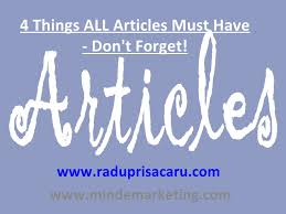 4 Things ALL Articles Must Have - Don't Forget!