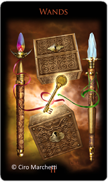 Legacy of the Divine Tarot, Two of Wands, Ciro Marchetti