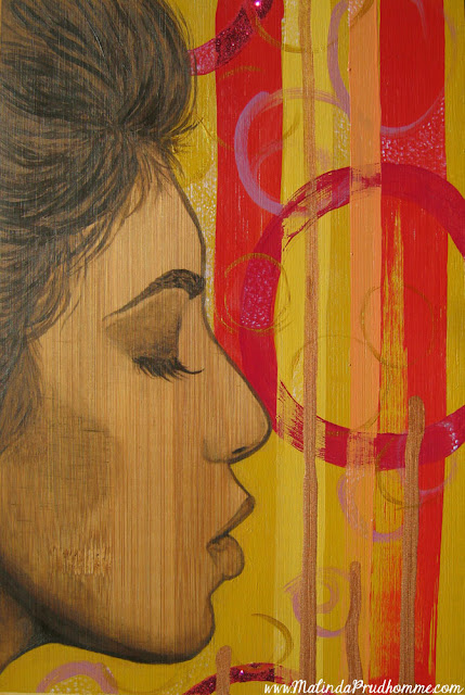 mixed media art, bamboo art, bamboo painting, mixed media artist, beauty art