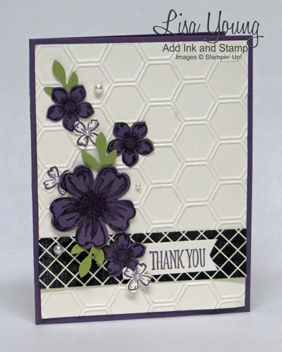 Floral card made with Stampin' Up! Petite Petals stamp set and Flower Shop stamp set. Purple floral card. Hexagon embossing folder. Easy floral card made by Lisa Young, Add Ink and Stamp