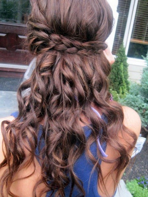 curly long hairstyles with braids