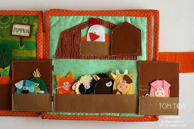Handmade cloth quiet busy book for Sergio, finger puppets barn, развивающая книжка