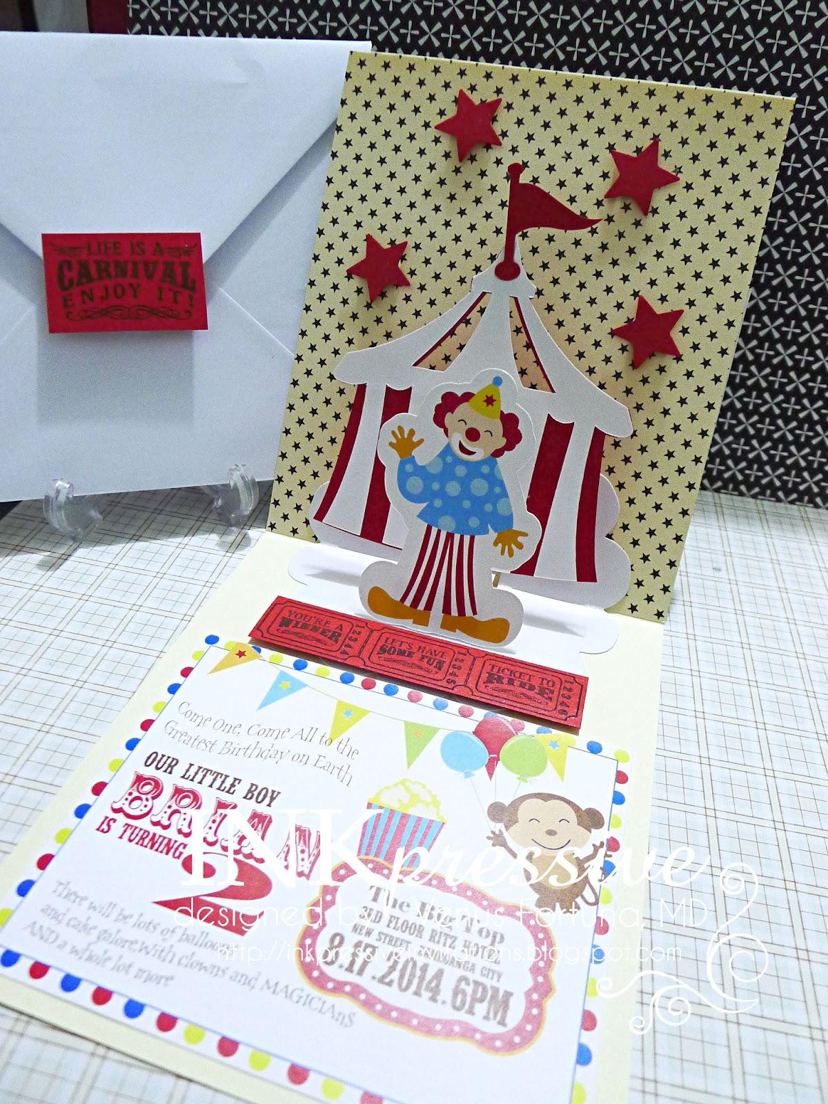 Big top circus pop up invite inkpressive invitations big top circus pop up invite stopboris Image collections