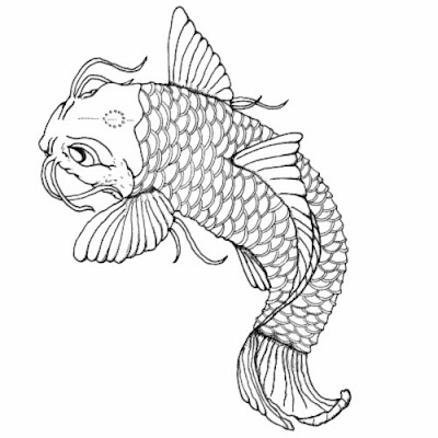 Printable fish outline template for Koi fish stencil