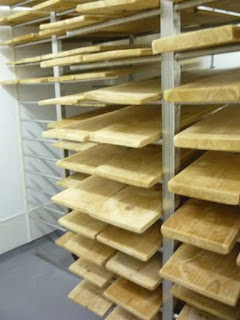 Spruce boards used during affinage of the cheese