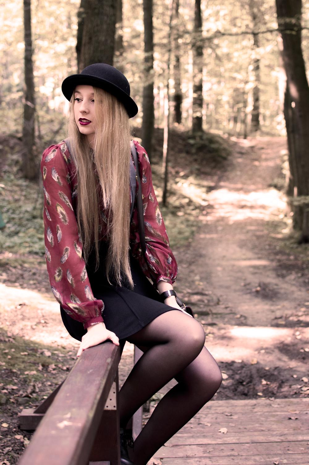 kapelusz na blogu modowym jesień 2014 czarne buty H&M melonik