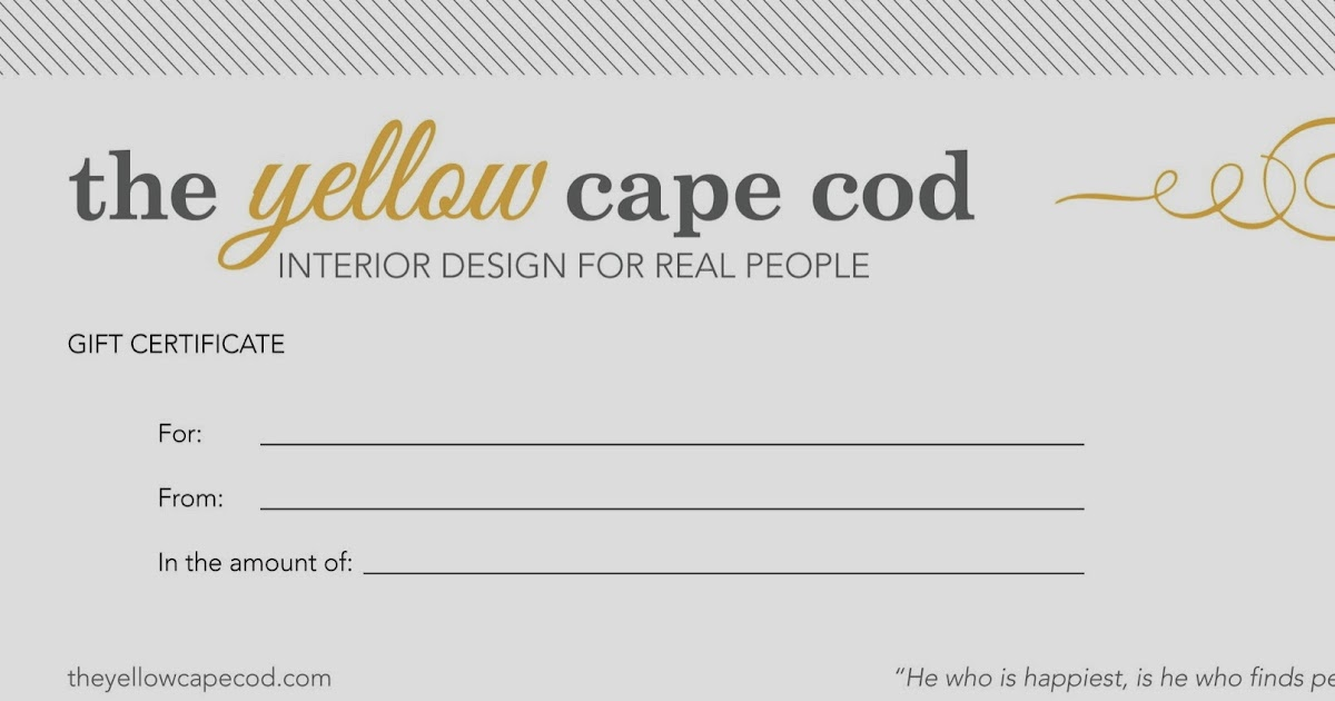 the yellow cape cod gift certificates now available for design services